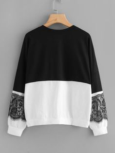 Shop Contrast Eyelash Lace Two Tone Pullover online. SheIn offers Contrast Eyelash Lace Two Tone Pullover & more to fit your fashionable needs. Classy Outfits, Casual Outfits, Cute Outfits, Hijab Fashion, Fashion Dresses, Minimalist Outfit, Pullover, Sweater Weather, Refashion