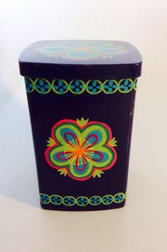 70s tin canister Vintage Anita Wangel Ira. Denmark. Scandinavian design,