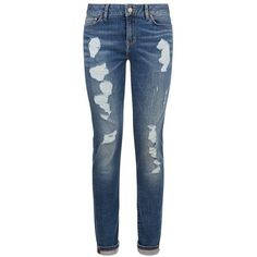 TOMMYxGIGI Distressed Venice Skinny Jeans ($195) ❤ liked on Polyvore featuring jeans, pants, blue, destroyed jeans, blue ripped jeans, denim skinny jeans, distressed jeans and low rise skinny jeans