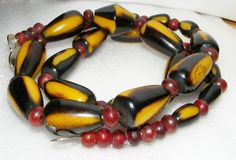 Amazing Vintage Horn Bead Necklace Big Bold Long Ethnic Tribal Unusual Colors | eBay SOLD