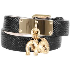 Dolce & Gabbana Black Leather Bracelet ($330) ❤ liked on Polyvore featuring jewelry, bracelets, horse charm, horse jewelry, charm jewelry, four leaf clover jewelry and clover leaf jewelry