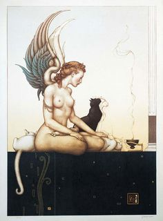 "Michael Parkes, ""Morning"" - 1992. This is my personal favorite #lithograph Michael Parkes has done."