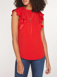 Womens **Tall Red Necklace T-Shirt- Red