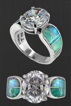 #NativeAmericanJewelry - Amazing Light Inlay Ring Designed by David Rosales. This features created opal and amazonite inlay with a large white topaz. This is a size 8 but we can have another made in a size that will fit you. Just let us know! http://stagecoachgifts.biz/products/native-american-jewelry-amazing-light-inlay-ring
