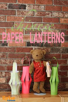 Make these simple yet beautiful Chinese Paper Lanterns with your kids! Turn them into real lights with battery-powered tea lamps and string some together. See this and lots of other great crafts and activities at www.zyliethebear.com