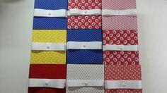 Caixinhas em MDF forradas com tecido 100% algodão.