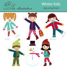 This Winter kids set comes with 6 cliparts including 2 ice skating girls, and 2 kids making a snowman.