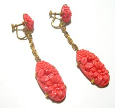 coral czech earrings