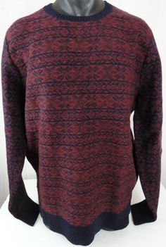 New J Crew Mens XL Tall 100% Lambswool Reverse Snowflake Sweater Red & Blue $122 #JCrew #Crewneck