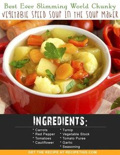 Slimming World Recipes | Slimming World Chunky Vegetable Speed Soup In The Soup Maker recipe from RecipeThis.com