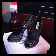 Black and polka dot high heel peep toe shoe Polkadot black and white peep toe high heel with red heel and platform worn once in good condition comes with replacement heels and the shoe box. Steve Madden Shoes Heels