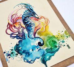 watercolor sea horses