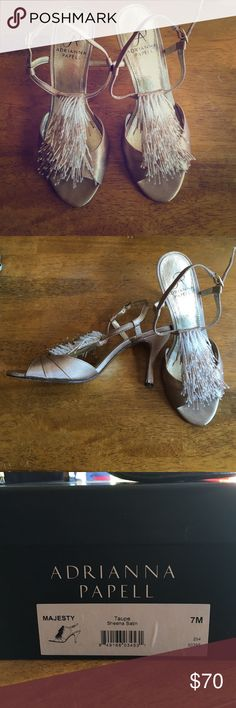 Adrianna Papell Majesty heels Excellent used condition- women's size 7 heels. Taupe sheena satin. Worn once for my wedding reception!  Beautiful shoes! Adrianna Papell Shoes Heels