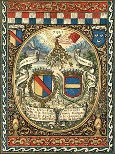 Tapisserie aux armes de «Jehan d'escoubleau conte de la chappelle et sieur de Sourdis, chevalier de l'ordre du Roy / Anthoinette de brives, Contesse de la chapelle et dame de Sourdis» (Jean d'Escoubleau comte de la Chapelle, sgr de Sourdis et Anthoinette de Brives) -- Gaignières, 1785 [BNF, Réserve Pc-18-Fol.]