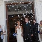 Confetti for the newlyweds in Benalmadena Pueblo