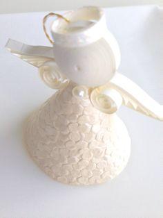 quilled paper angel // shimmery ivory // 3d por APaperLifeOriginals