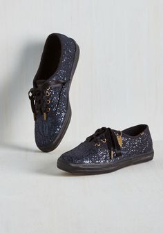Shine On Sneaker. Keep your high shimmer standards sparklin with these glittery Keds! #blue #modcloth