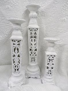Royal Rococo French wedding home decor white candle holders