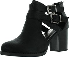 Soda Womens Scribe Ankle Bootie With Low Heel And Cut-Out Side Design ** Find out more about the great product at the image link.