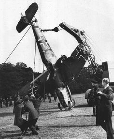 German Bf109 Messerschmitt fighter being salvaged after being shot down over England. Sept 1940.