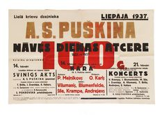 Original lithographed poster on the occasion of the Pushkin centenary in 1937, in Latvian.
