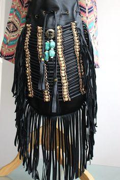 HENDRIX Large Black Leather Tassel Bag  by YANNIKAaustralia, $150.00