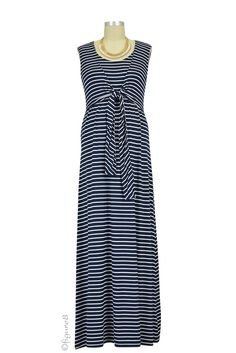 Brooklyn Stripes Maxi Nursing Dress in Navy Stripes. Please use coupon code NewProducts to receive 15% off these items. To receive the discount, please place your order by midnight Monday, April 6, 2015