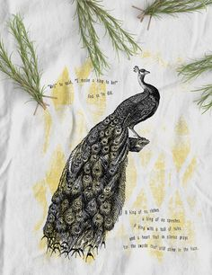 Peacock King Organic Fairtrade t-shirt   women's tops   white  www.kunda.gr #tshirts #organictshirts #fairtrade #organiccotton #etsy #etsygreekstreetteam #ethicalfashion  #EtsyGifts #inspiring #peacocks #birds #kings #illustration #design #poem