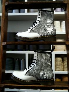 Classic 8-hole Doc Marten boots covered in shredded knit via Artstring Boutique (artstring.etsy.com)