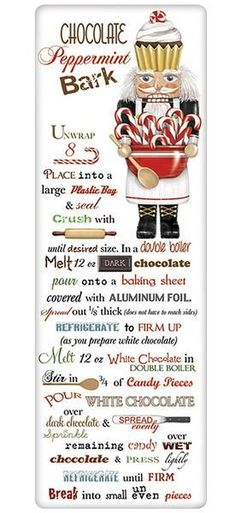 Christmas peppermint bark recipes, on a charming kitchen flour sack dish towel. Explore our huge collection with something for every decor and holiday.