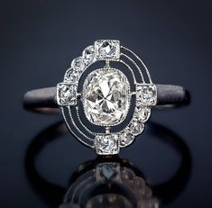 Russian Art Deco Diamond Platinum Engagement Ring | From a unique collection of vintage engagement rings at https://www.1stdibs.com/jewelry/rings/engagement-rings/ #fineringsjewelry #rusisianjewelry