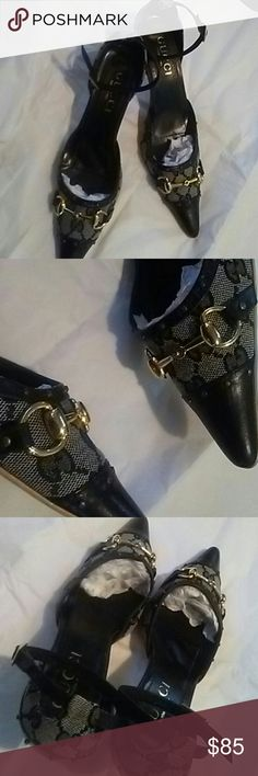 "Gucci kitten heels Gucci 2"" kitten heels open sides with ankle strap Canvas and studded detailed leather. EUC! Gucci Shoes Heels"