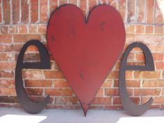 Distressed Painted 3 Foot Tall Wood Heart and Two Wood Letters 24 inch