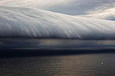 Giant wave-like shelf cloud, seen near Sydney, Australia, during the Rolex Sydney Hobart Yacht race: