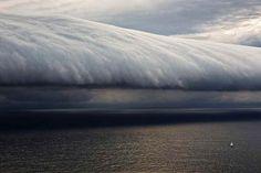 Giant wave-like shelf cloud, seen near Sydney, Australia, during the Rolex Sydney Hobart Yacht race: