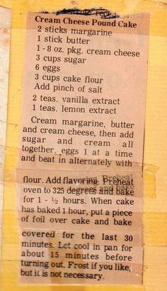 Nostalgic Cream Cheese Pound Cake Recipe on an old piece of paper | Click for 18 Delicious Pound Cake Recipes