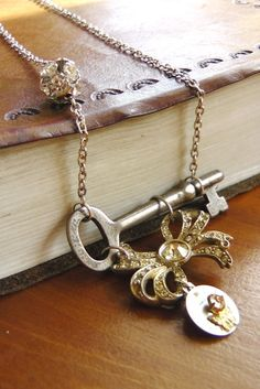 Skeleton key necklace, handmade, one of a kind, vintage. $42.00, via Etsy.