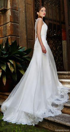 stephanie allin bridal 2017 sleeveless illusion cap sleeve shrug a line wedding dress (luisa) sv train