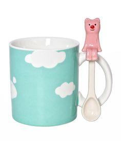 8-Oz. Teal Pig Mug & Spoon