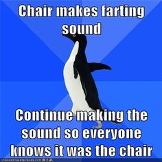 I didn't fart; the chair did!! Socially Awkward Penguin
