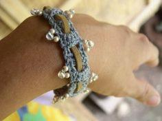 Beaded Crochet Bracelet with Leather Weave tutorial