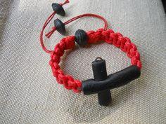 Bracelet shambala leather cross, copper, cotton cord