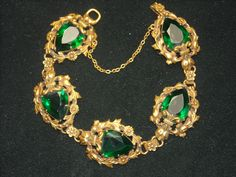 Joseff Hollywood Jewelled Emerald Heart Shaped Bracelet