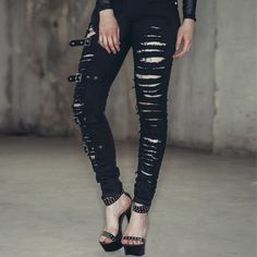 Hot Fashion Ladies/Female Cotton Denim Ripped Hole Punk Cut-out Women Sexy Skinny pants Jeans Casual Trousers //Price: $87.00 & FREE Shipping //     #shopping #lovemegashop