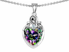 Star K Loving Mother with Twins Children Pendant Necklace With 8mm Heart Rainbow Mystic Topaz