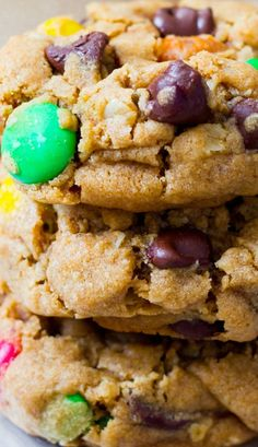Soft-Baked Monster Cookies ~Super soft and thick peanut butter cookies with oats, chocolate chips, and M&Ms... the best monster cookies you'll ever make!
