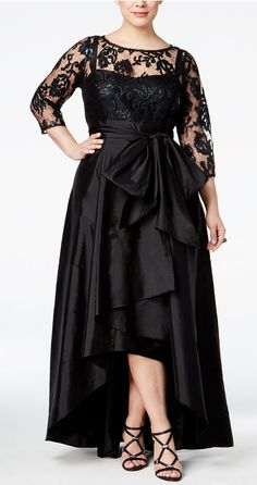 edaae2bc3f Ignite Evenings Plus Belted Lace and Mikado Dress