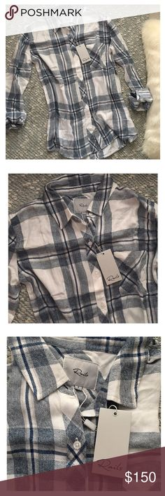 Rails Button Down Rails Hunter button down in shades Indigo & White.   - Size S - BNWT - Super soft & lightweight - 100% rayon - Price is firm❕  This is completely sold out online. Rails Tops Button Down Shirts