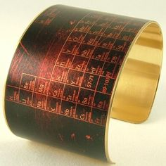 Brass Cuff Bracelet - Periodic Table of Elements - Pharmacist Jewelry. $40.00, via Etsy.