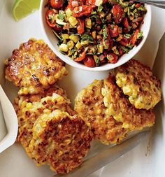 Corn Fritters With Spicy Zucchini Salsa - SELF